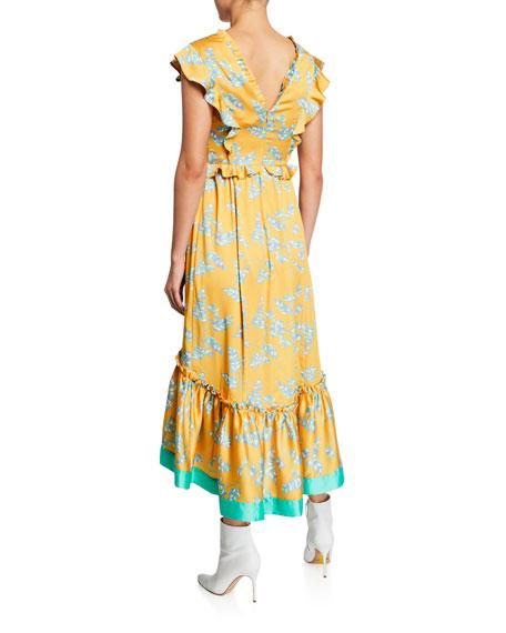 Three Floor Lemonana Printed Satin Midi Dress