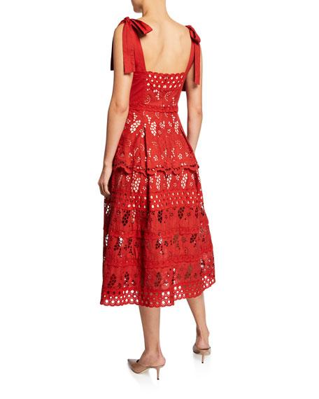 Three Floor Damsel Sweetheart Tie-Shoulder Eyelet Dress
