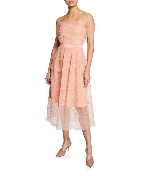 Image 1 of 2: Girl Talk Embroidered Tulle Midi Dress