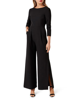 c25612dfbe5f Ever New Rachel 3 4-Sleeve Tie-Back Wide-Leg Jumpsuit