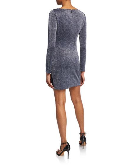Rachel Zoe Mallory Long-Sleeve Metallic Cocktail Dress