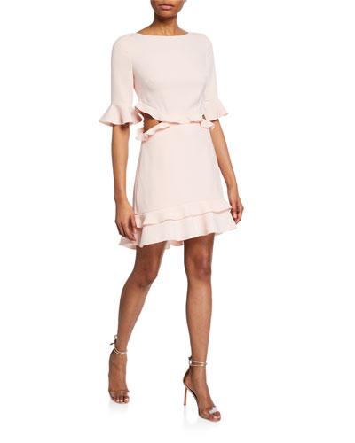 Karly Elbow-Sleeve Side-Cutout Crepe Ruffle Dress
