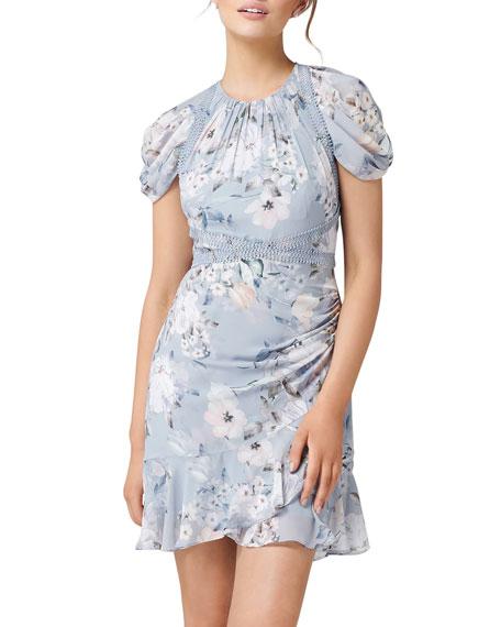 Ever New Springtime Floral-Print Tulip-Sleeve Mini Dress