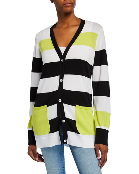 Joan Vass Striped Button-Front Cotton Cardigan w/ Pockets