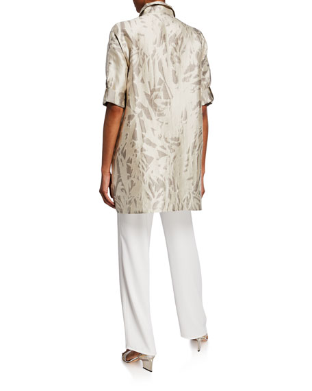 Caroline Rose Natural Attraction Jacquard Button-Front Long Shirt