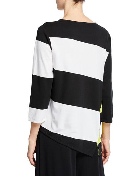 Joan Vass Colorblock Striped 3/4-Sleeve Asymmetric Top