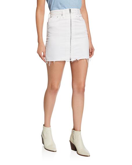 60c66d5f0 Rag & Bone Anna Zip-Front Frayed Mini Skirt   Neiman Marcus