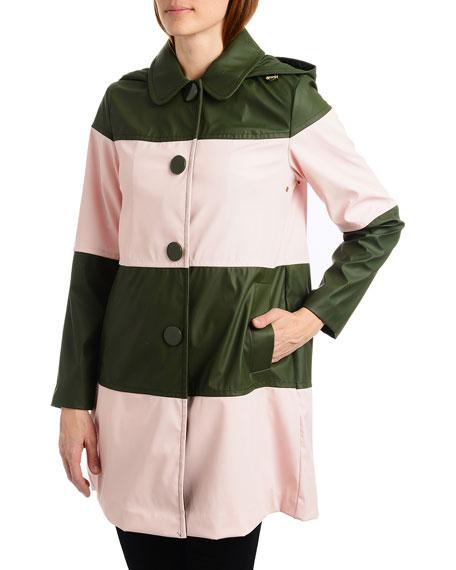 kate spade new york colorblock long raincoat