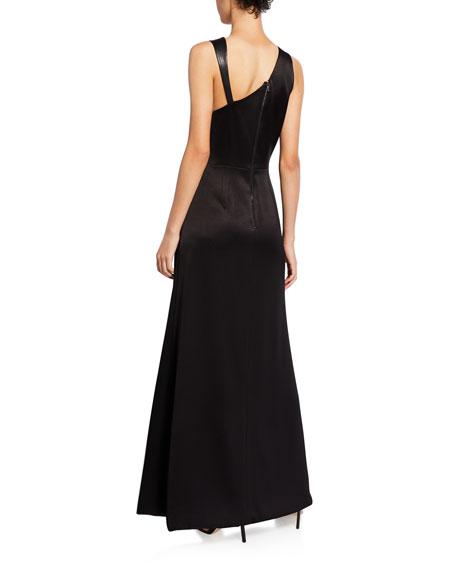 Alice + Olivia Pamela Leather Combo High-Slit Gown