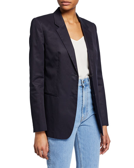 Helmut Lang Resin Cotton Twill Two-Button Blazer