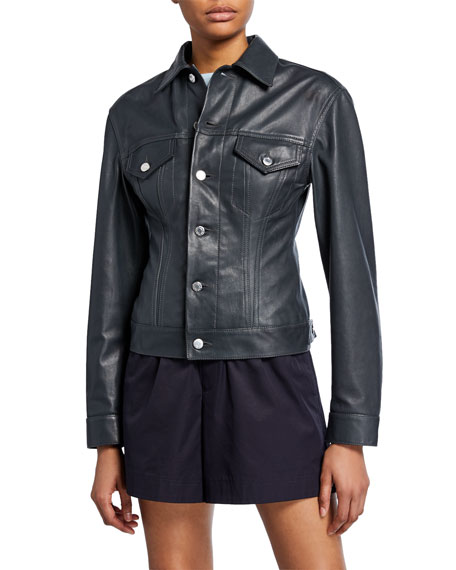 Helmut Lang Femme Trucker Lambskin Leather Jacket