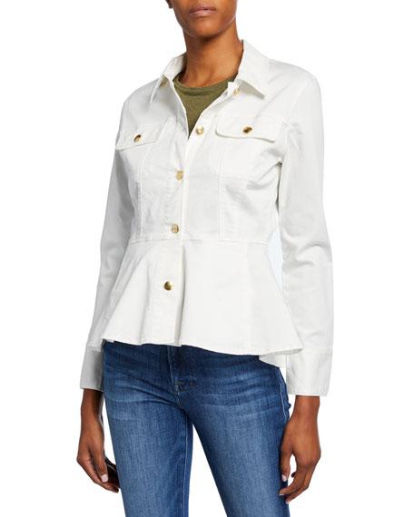 FRAME Peplum Button-Front Jacket