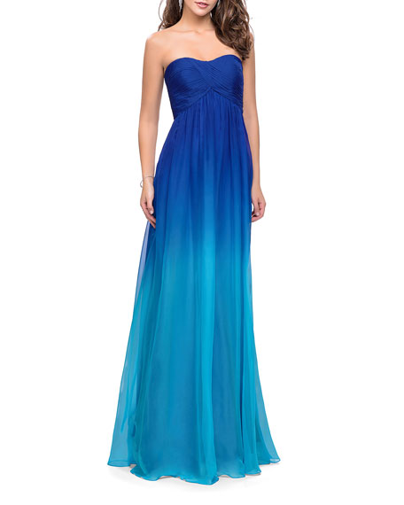 La Femme Ombre Strapless Chiffon Gown with Ruched Bodice & Open-Back