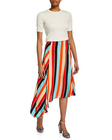 ASTR Monica Striped Asymmetric Midi Skirt