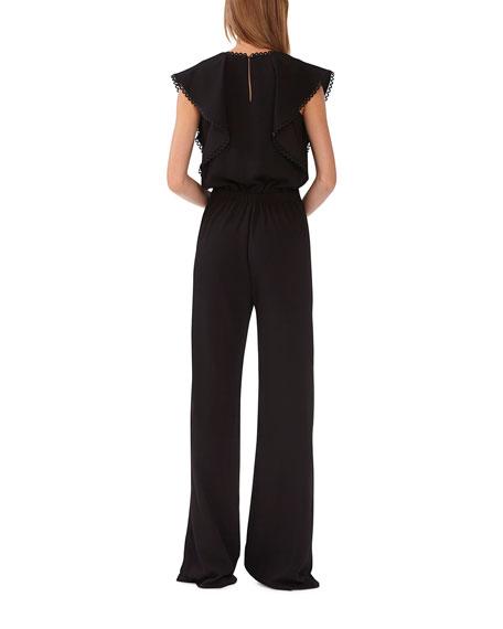 ML Monique Lhuillier Sleeveless Wide-Leg Crepe Jumpsuit w/ Trim