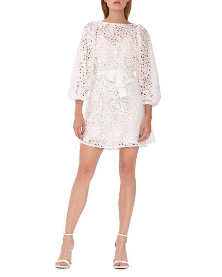 ML Monique Lhuillier Long-Sleeve Eyelet Short Dress w/ Tie Waist