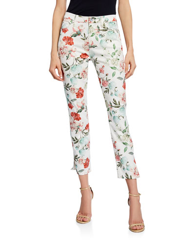 Floral Cropped Skinny Jeans with Side Vent