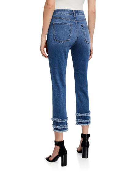 Jen7 by 7 for All Mankind Cropped Straight-Leg Jeans with Fringe
