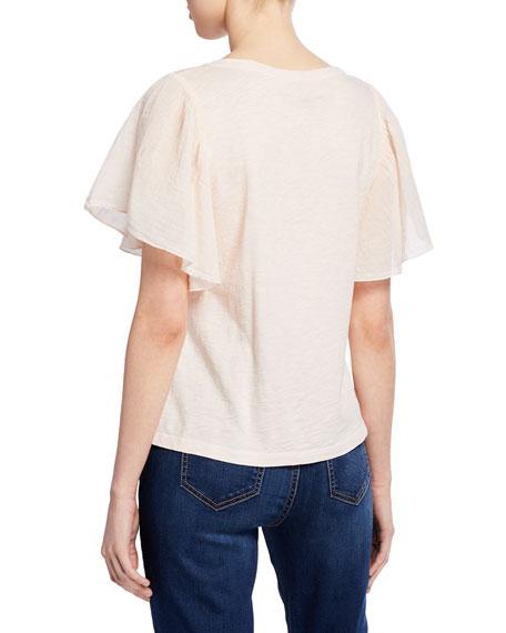Velvet Betha Flutter-Sleeve Linen Top