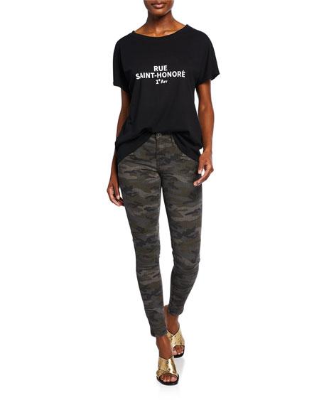 Etienne Marcel Zip-Pocket Camo-Print Skinny Jeans