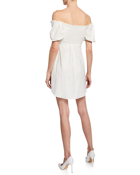 A.L.C. Aniston Off-the-shoulder Short-Sleeve Mini Dress