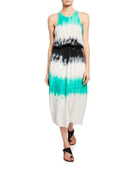 A.L.C. Tallulah Tie-Dye Belted Racerback Midi Dress