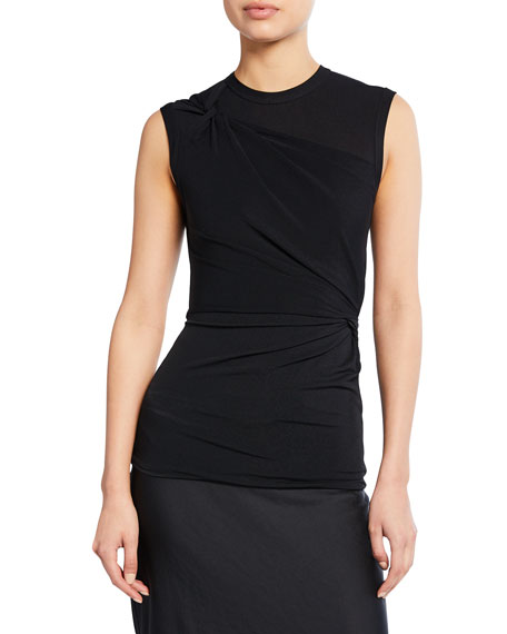 alexanderwang.t crewneck sleeveless twisted crepe jersey top
