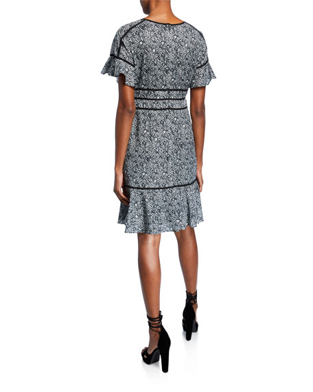 Shani Printed Short-Sleeve Fit-&-Flare Dress