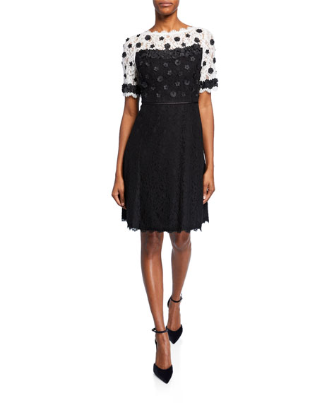 Shani Colorblock Fit-&-Flare Lace Dress w/ Floral Applique