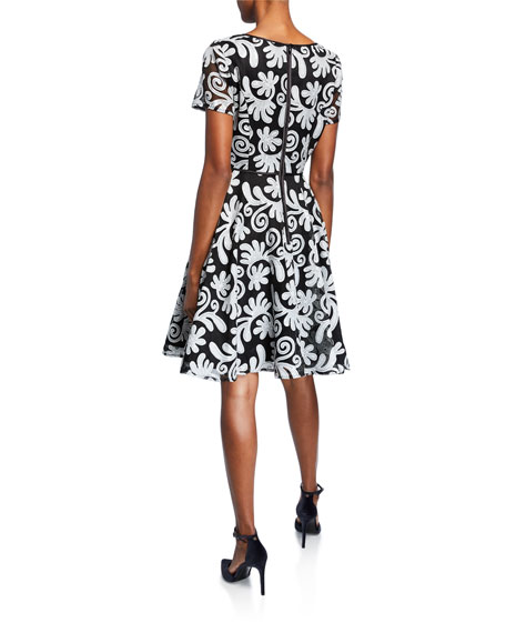 Shani Novelty Embroidery Short-Sleeve Fit-&-Flare Dress