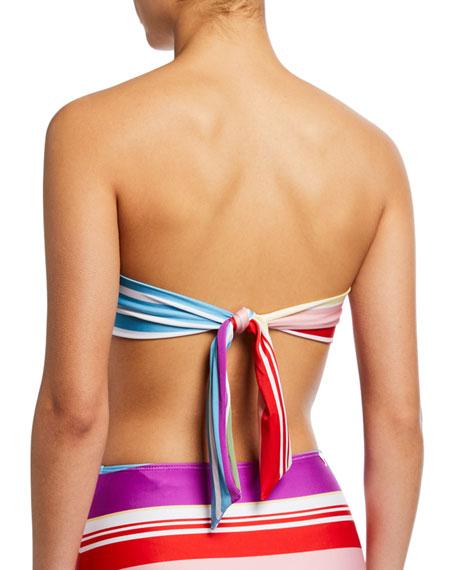 Agua de Coco Striped Bandeau Bikini Top
