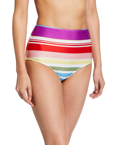 Striped High-Waist Bikini Bottoms