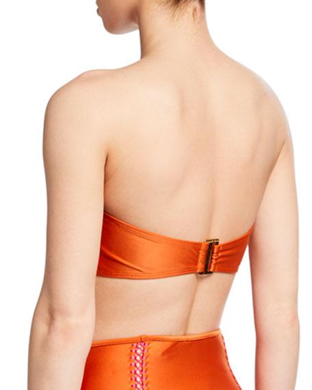Agua de Coco Solid Bandeau Bikini Top with Stitching