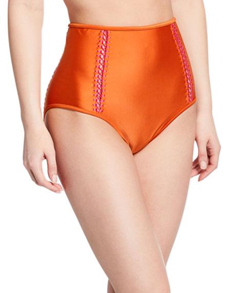 Agua de Coco Solid High-Waist Bikini Bottom with Stitching