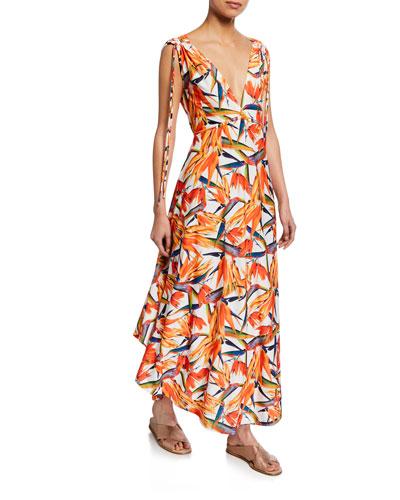 Printed V-Neck Sleeveless Tie-Shoulder Maxi Dress