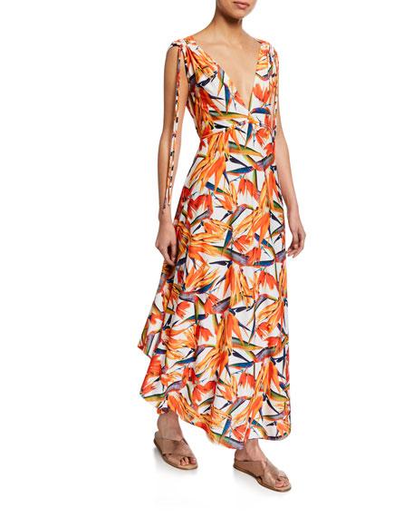 Agua de Coco Printed V-Neck Sleeveless Tie-Shoulder Maxi Dress