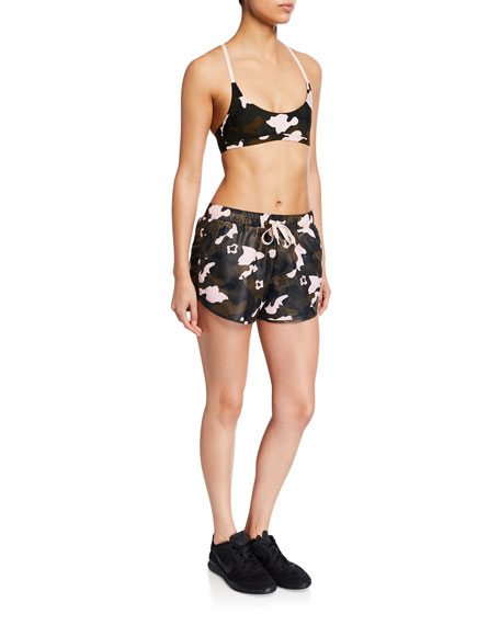 The Upside Forest Camo Drawstring Running Shorts