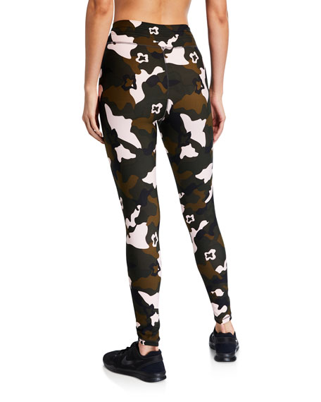 The Upside Forest Camo-Print Midi Yoga Pants