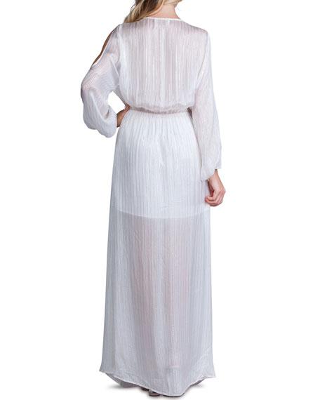A La Plage Metallic Stripe V-Neck Cold-Shoulder Blouson-Sleeve Maxi Dress