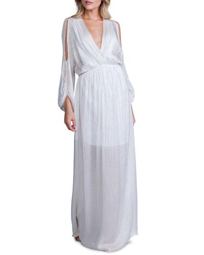 Metallic Stripe V-Neck Cold-Shoulder Blouson-Sleeve Maxi Dress