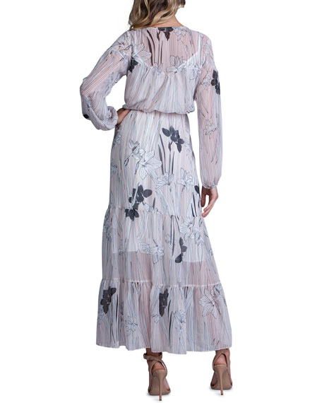 Image 2 of 2: Striped Floral-Print Long-Sleeve Tiered Maxi Dress