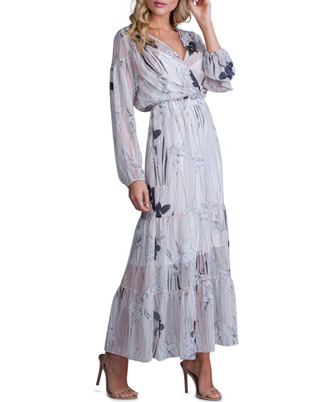Image 1 of 2: Striped Floral-Print Long-Sleeve Tiered Maxi Dress