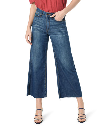 Wide-Leg Cropped Raw-Edge Jeans