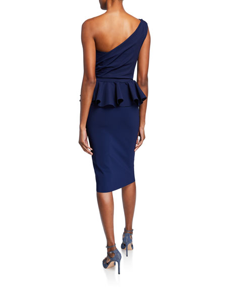 Chiara Boni La Petite Robe Okoye One-Shoulder Sleeveless Peplum Cocktail Dress