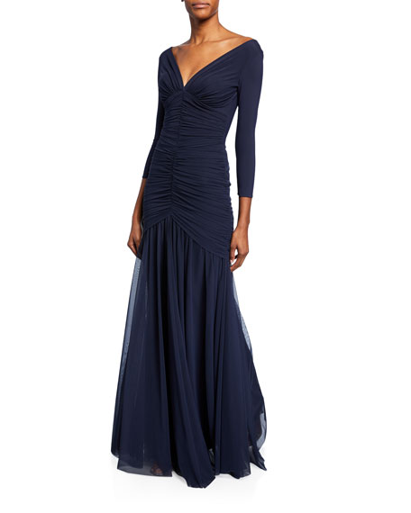 Chiara Boni La Petite Robe Dikta V-Neck 3/4-Sleeve Shirred Mermaid Gown