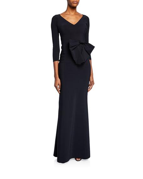 Chiara Boni La Petite Robe Barbra Lee V-Neck 3/4-Sleeve Gown with Side Bow Detail