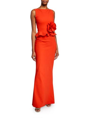 Tyg High-Neck Sleeveless Peplum Gown w/ Ruffle-Detail
