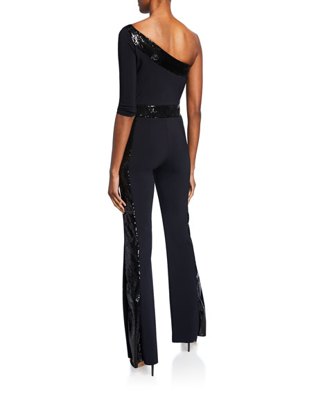 Chiara Boni La Petite Robe Unimarge One-Shoulder Flared-Leg Jumpsuit