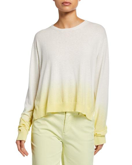 ATM Anthony Thomas Melillo Dip-Dye Ombre Crewneck Long-Sleeve Boxy Sweater