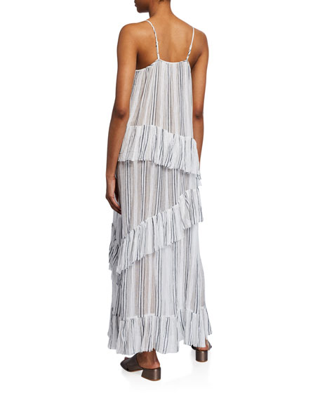 Image 2 of 2: ATM Anthony Thomas Melillo Striped Spaghetti-Strap Cotton Gauze Ruffle Maxi Dress